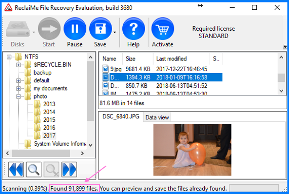 Number of files indicator in ReclaiMe File Recovery
