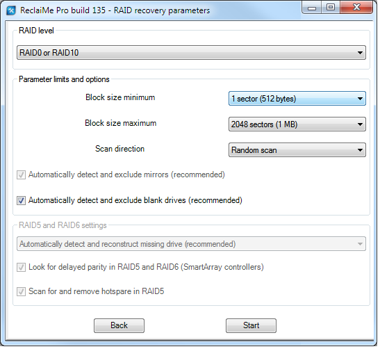 RAID data recovery in ReclaiMe Pro.