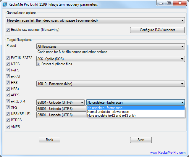 Filesystem recovery in ReclaiMe Pro.