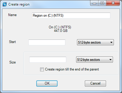 Specifying region in ReclaiMe Pro.