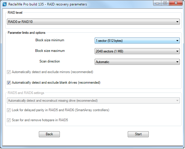 Configuring RAID recovery parameters in ReclaiMe Pro.