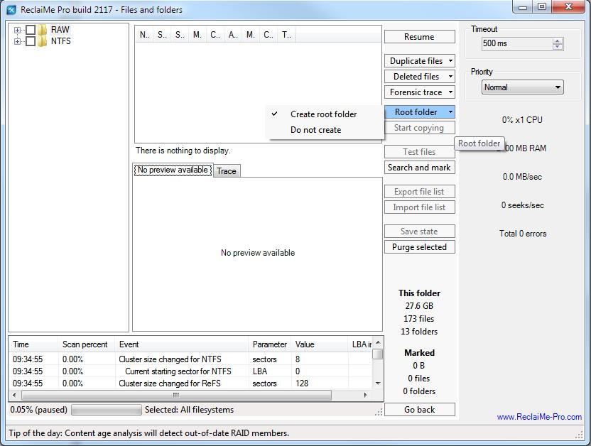 ReclaiMe Pro root folder for copying data.