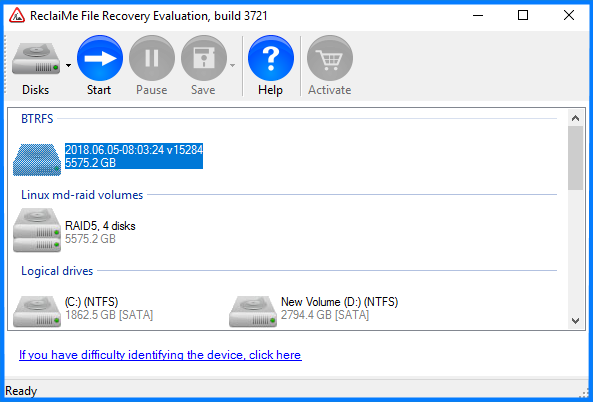 Data recovery from a NetGear volume