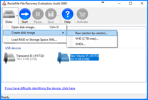 how to create disk image