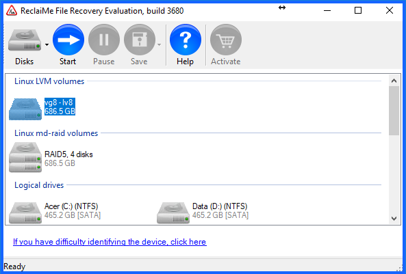 Data recovery from a EXT volume
