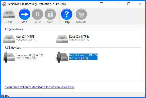double click the drive in the device list to start recovery