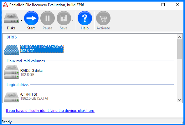 Select a volume holding iSCSI LUN for recovery