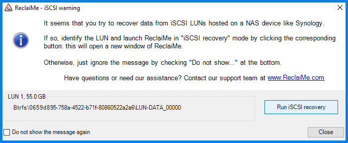 Select an iSCSI LUN for recovery