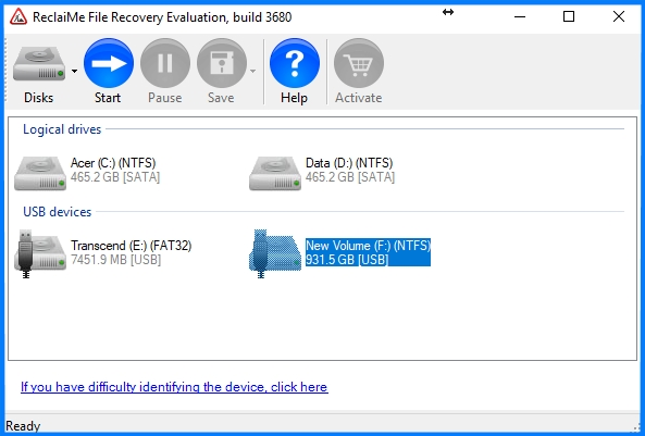 Laptop data recovery in ReclaiMe