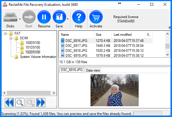 Photo recovery with ReclaiMe