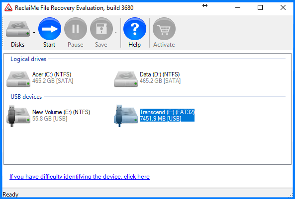 ReclaiMe screenshot - pen drive recovery
