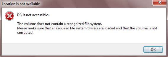 The volume does not contain a recongnized file system