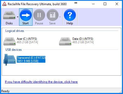Recovery of the Scan and fix error with ReclaiMe File Recovery