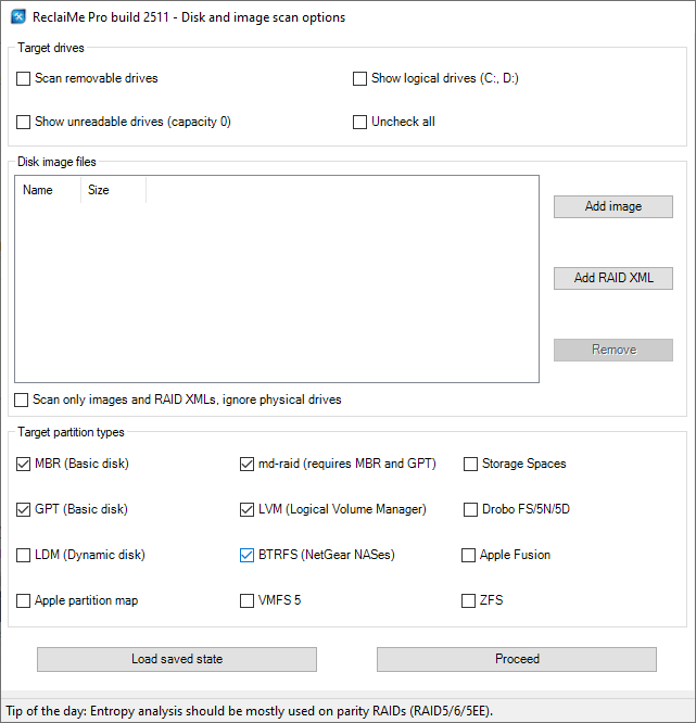 Recovering data from an iSCSI Synology volume in ReclaiMe Pro - checking parition types.