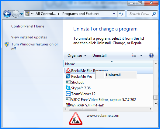 Uninstall ReclaiMe-step3